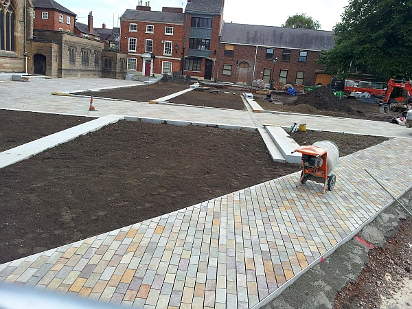 Landscaping work in progress at Leicester Cathedral May 2014