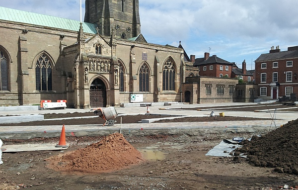 Work is underway to radically revamp the frontage to Leicester Cathedral May 2014