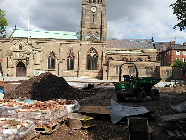 Work on the gardens in front of Leicester Cathedral May 2014