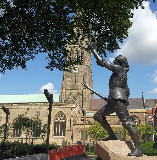 The statue of King Richard III in its new position in Cathedral Gardens, 2014