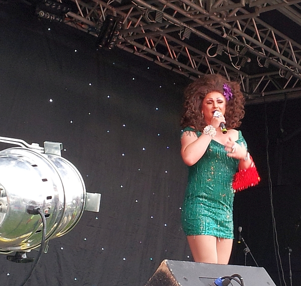 Miss Penny performing at Leicester Pride in 2014