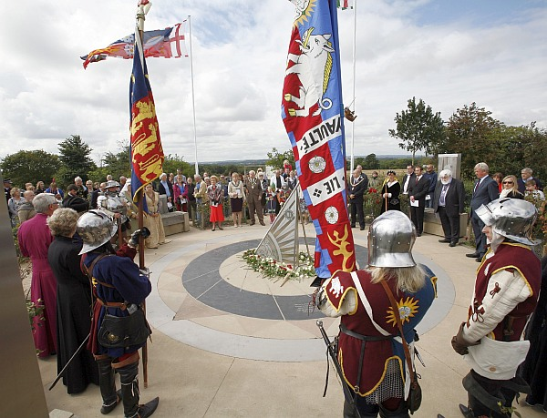 the rose-laying ceremony at the Battlefield Heritage Centre on August 22nd 2014, commemorating the Battle of Bosworth