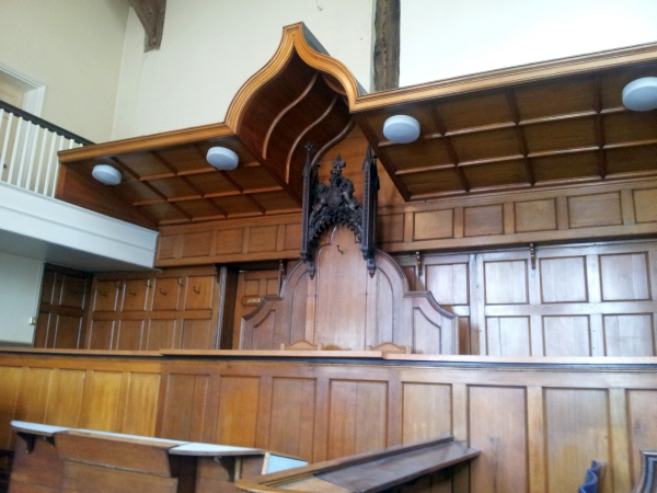 View of the court room showing the judge's chair