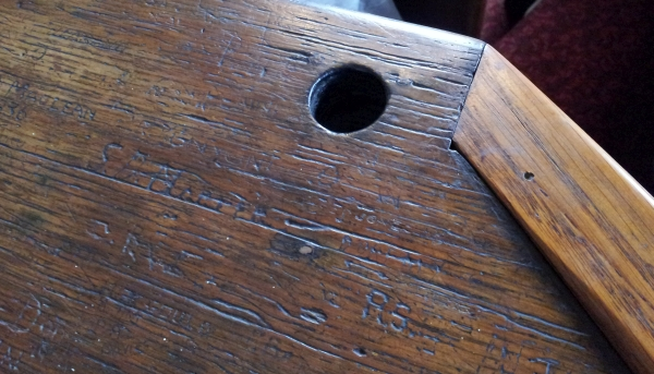 An ink well in one of the court rooms