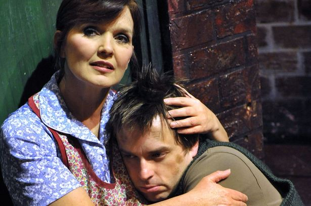 Mrs Jonhston (Maureen Nolan) with her son Mickey (Sean Jones) Blood Bothers the Musical