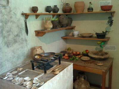 Recreation of a Roman kitchen at the Jewry Wall Museum, Leicester