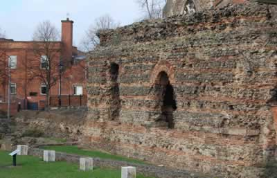 The remains of the Roman bath house, known as 'Jewry Wall.'