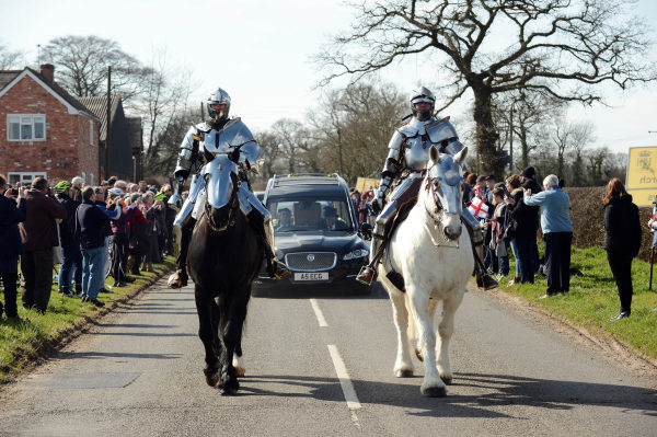 Knights head the cortege procession at Bosworth Photo Diocese of Leicester