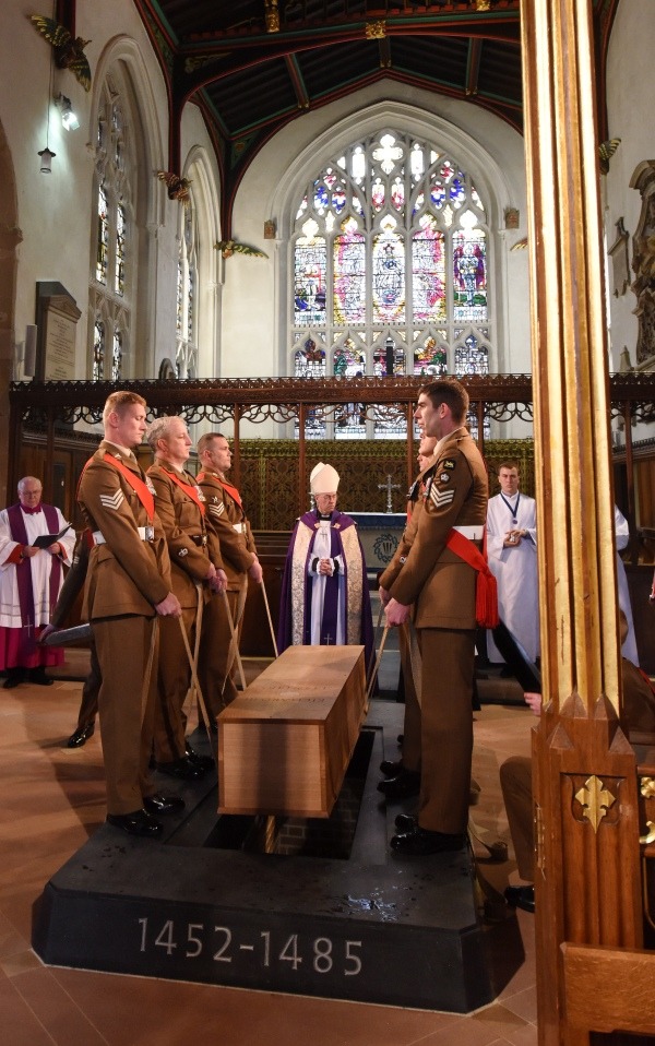 The coffin is lowered into the grave Photo Diocese of Leicester