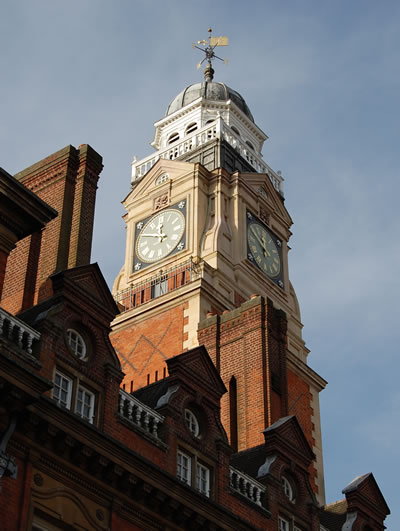 The clock on the town hall