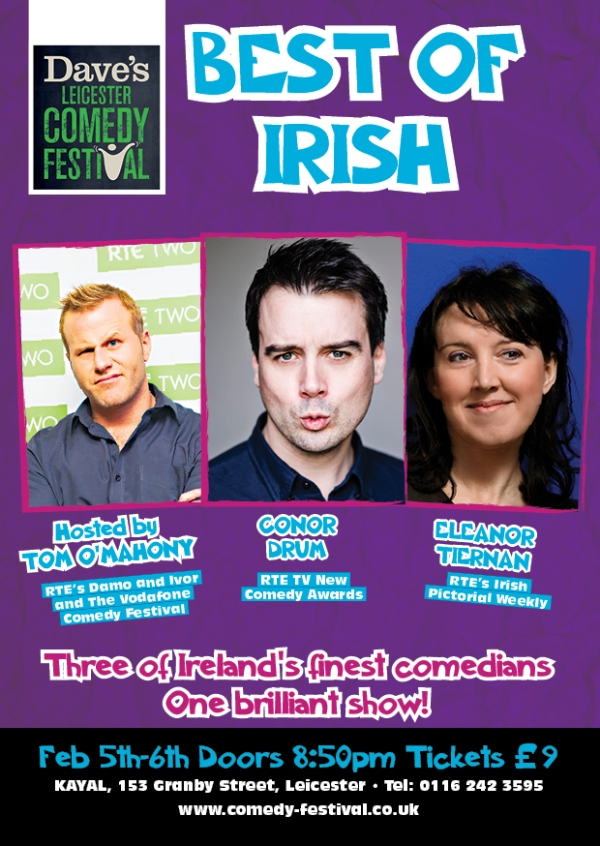 Best of Irish is on 5th and 6th February at Hayla, Granby Street