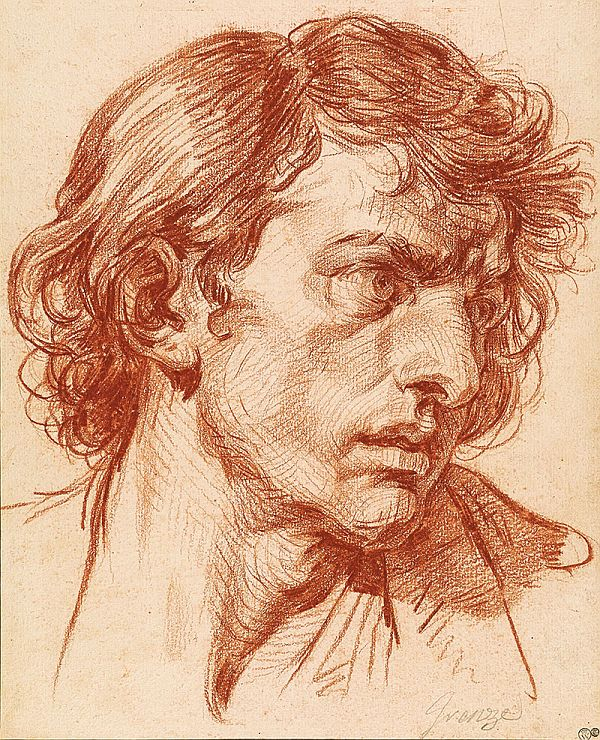 Head of a Young Man by Jean-Baptiste Greuze