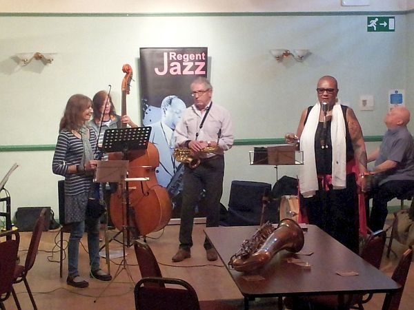 Musicians performing at a jazz concert