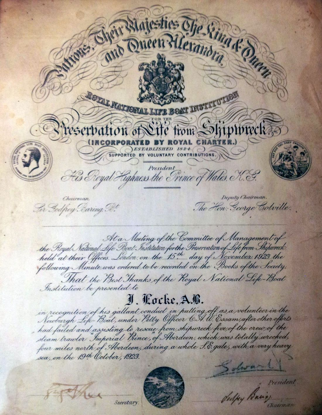 RNLI certificate awarded to Able Seaman Leslie Locke in 1923